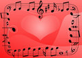 Love music heart, musical notes symbols background Stock Photos