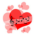 Love music hearts and musical notes romantic composition Royalty Free Stock Images