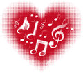 Love music. Music note in the heart Stock Image