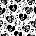 Love for music, musical abstract vector background, seamless pattern Royalty Free Stock Photo
