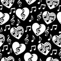 Love for music, musical abstract vector background, seamless pattern. Royalty Free Stock Photo