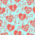 Love for music, musical abstract vector background, seamless pattern.