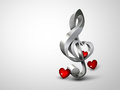 Love for music treble clef with the shape of a heart on a light background Royalty Free Stock Image