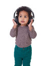 Love music young girl with headphones on white Stock Photos