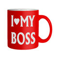 Love my boss mug isolated office humour happy workers or romance Royalty Free Stock Images