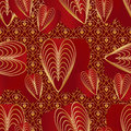 Love nine red golden colors seamless pattern Royalty Free Stock Photo