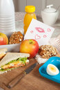 Love note at breakfast Royalty Free Stock Image