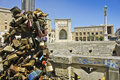 Love padlock in lecce two lovers promise eternal with with their name the town is Royalty Free Stock Photo