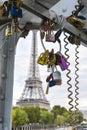 Love padlocks hanging on a bridge in Paris France Royalty Free Stock Photo