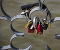 Love padlocks in on the river in less frankfurt Royalty Free Stock Photo