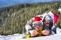 Love pair on ski vacation Royalty Free Stock Photos