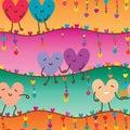 Love pair sweet horizontal line seamless pattern