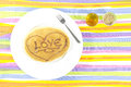 Love Pancake with sweet honey and sugar palm in glass shot Royalty Free Stock Photo