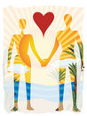 Love in paradise abstract couple silhouette beach Royalty Free Stock Photo