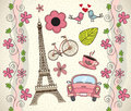 Love paris background with differents icons vector illustration Royalty Free Stock Images