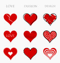 Love passion and design hearts collection of red vector illustration Royalty Free Stock Photography