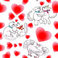 Love pattern with animals Stock Images