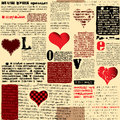 Love pattern seamless background will tile endlessly newspaper with hearts Royalty Free Stock Photos