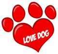 Love paw print with text Royalty Free Stock Photo