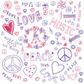 Love, Peace & Music Sketchy Notebook Doodles Stock Photography
