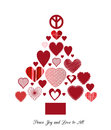 Love and peace christmas tree heart chrsitmas sign topper Stock Photo