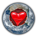 Love and peace earth heart with a delicate inside at the center Stock Photography