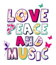 `love, peace and music` pattern, kids t-shirt print