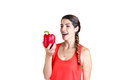 Love peppers happy young woman holding a big red bell pepper Stock Images