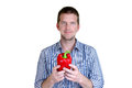 Love peppers man holding a big red bell pepper Stock Photography