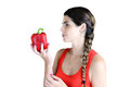 Love peppers young woman looking at a big red bell pepper Royalty Free Stock Images