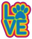 LOVE Pets Paw Text Design