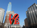 Love philadelphia the famous statue in center city with the comcast center in the background Royalty Free Stock Image