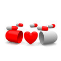 Love pills heart symbol around of Stock Image