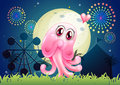 An in love pink monster near the carnival illustration of Stock Images