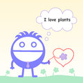 Love for plants a man holding a flower that has a stem forming like a heart Stock Photos