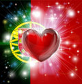 Love Portugal flag heart background Stock Images