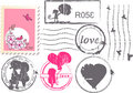 Love postage set Royalty Free Stock Photo