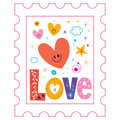 Love postage stamp hearts design Stock Photo