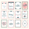 Love postage stamps for happy valentines day celebration collection of Royalty Free Stock Images