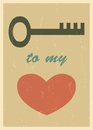 Love poster mid century retro card eps blend mode used Royalty Free Stock Images