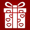 Love present glyph icon, valentines day