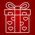 Love present line icon, valentines day