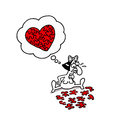 Love puzzle vectorel conceptual humorous cartoon about valentines day and Royalty Free Stock Photo