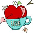 Love red apple of cupid on a cup of tea Royalty Free Stock Photo