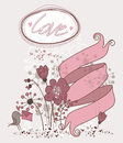 Love retro card with ribbon flowers and Royalty Free Stock Photo