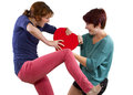 Love rivals two friends become on valentines day fighting over a heart Royalty Free Stock Photos