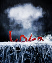 Love on the rocks concept of stormy relationship we have with and relationships red letters in a thundering rain storm hitting Stock Images