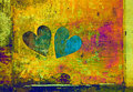 Love and romance. two hearts in grunge style on abstract background Royalty Free Stock Photo