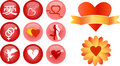 Love and romance vector icons Stock Image