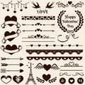 Love, romance and wedding design elements. Vector set. Royalty Free Stock Photo
